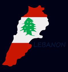 Grunge map of lebanon with lebanese flag vector