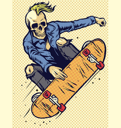 Hand drawing style skull play skateboarding vector