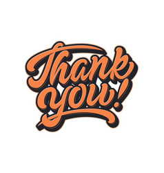 Hand drawn lettering thank you with soft vector