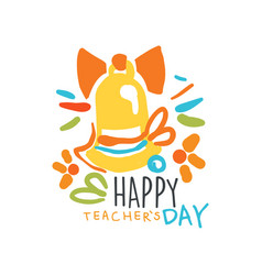 Happy teachers day label original design vector