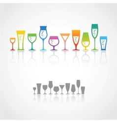 icons wine glasses vector image