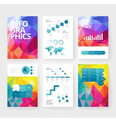 Infographics brochure blue poly red vector