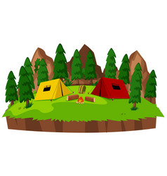 Isolated campsite on white background vector