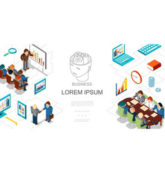 isometric business people and elements template vector image