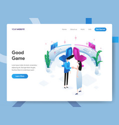 landing page template good game isometric vector image