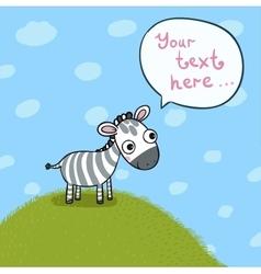 little cute zebra in meadow vector image