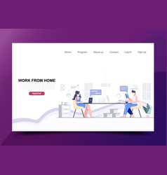 Man and woman sitting distance work from home vector