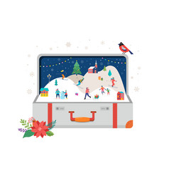 Merry christmas big open suitcase with winter vector