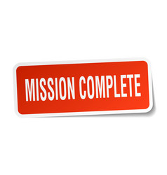 Mission complete square sticker on white vector