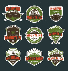 mountain travel colored emblems or badges vector image
