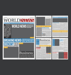 newspaper headlines template realistic poster vector image