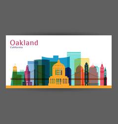 oakland city california architecture silhouette vector image