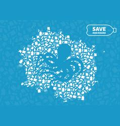 octopus stop ocean plastic pollution concept vector image