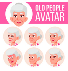 old woman avatar set face emotions senior vector image