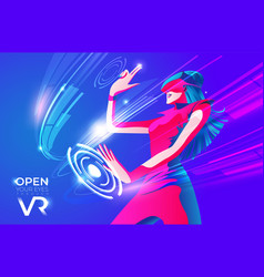 open your eyes through vr vector image