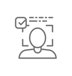 Person identified face identification line icon vector