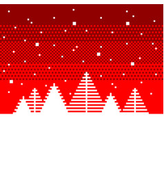 pixel fir trees christmas concept detailed vector image