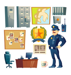 police station interior element cartoon set vector image