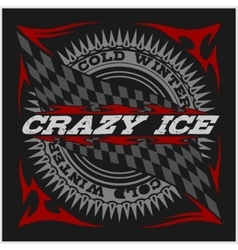 Racing emblem crossed checkered flags wheel and vector