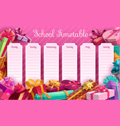 School timetable with gift boxes template vector