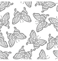 seamless pattern with butterflies stylised moth vector image