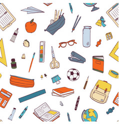 seamless pattern with school stationery and tools vector image