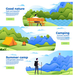 Set of banners with park camp and mountain vector