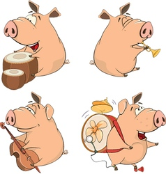Set of cheerful pigs Cartoon vector image