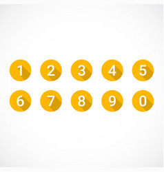 set of orange number icons vector image