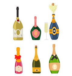 Set with different colorful bottles of champagne vector