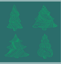 Set with green isolated patterned christmas trees vector
