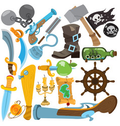 set with pirate attributes various items medieval vector image