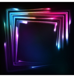 Shining rainbow neon lights squared frame vector image