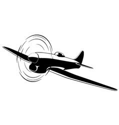 Silhouette of the old fighter airplane vector image