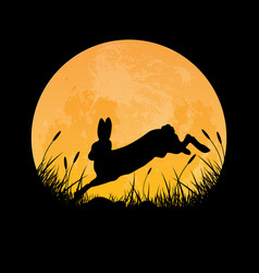 silhouette rabbit jumping in full moon night vector image