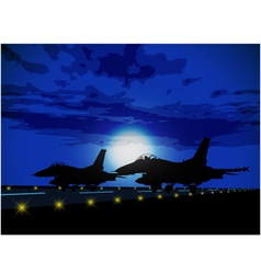 Silhouettes of military planes vector