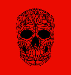 Skull in floral style design element for poster vector