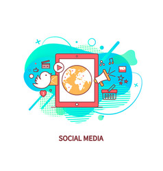 social media smartphone with globe earth vector image