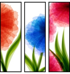 Three vertical banners with transparent flowers vector image