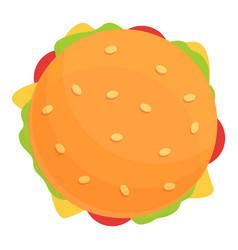 Top view burger icon cartoon style vector