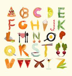 Typography kitchen poster food alphabet vector