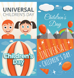 universal children day banner set cartoon style vector image