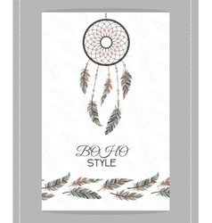 Vintage card Boho style Two flyers decorated vector