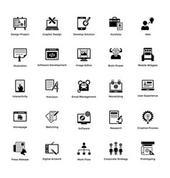 web and graphic designing glyph icons set 5 vector image