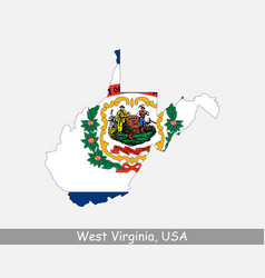 west virginia usa map flag vector image
