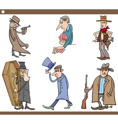 Wild west people cartoon set vector