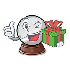 With gift ball snow and christmas cartoon tree vector