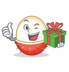 With gift rambutan mascot cartoon style vector