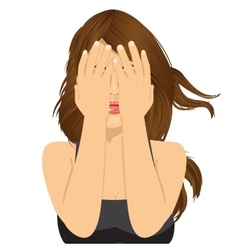 Woman covering her eyes with her hands vector