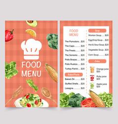 World food day menu design with corn broccoli vector